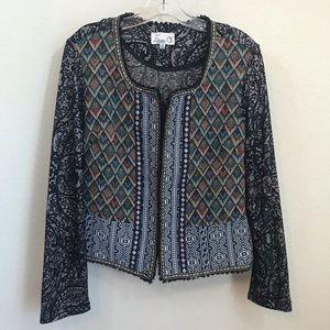 Emma G Zip Up Mixed Print Blazer Jacket Sz M Light